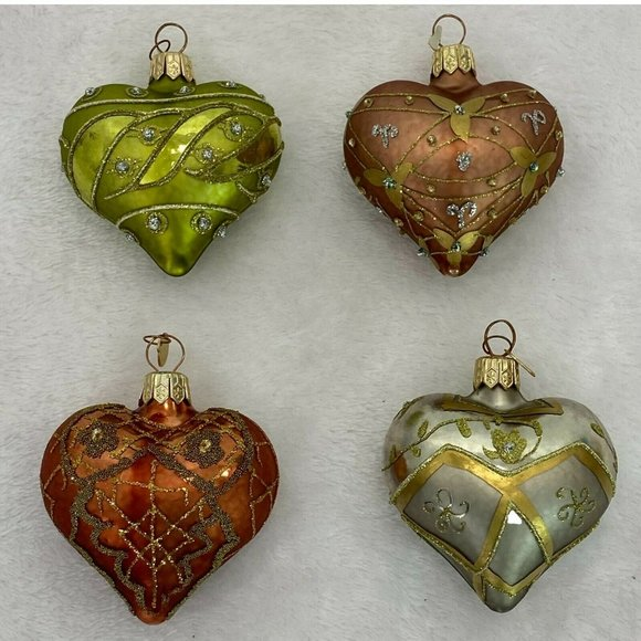 Dept 56 Heart Glass Christmas Ornaments Lot of 4